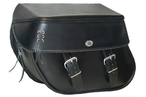 Boss Bags #36 Model  Braided Lid Valence with  Laced Leather on Lid Corner for Harley Models