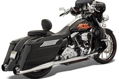 Bassani Stepped True Duals for FL Models '95-08 -Chrome with Black Ceramic End Caps w/ Contrasting Flutes & B1 Style Muffler