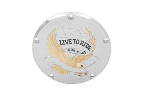 Drag Specialties Live To Ride Derby Covers for '99-17  Big Twin (Except '16 Dressers, '15 FLHCUL/FLHTKL) -Gold