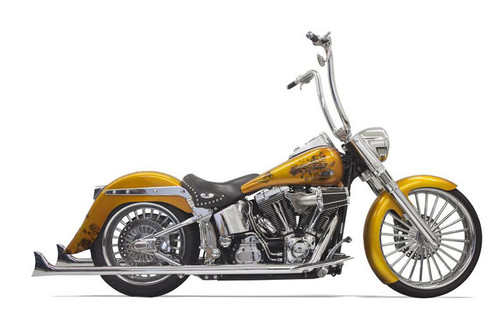 "Bassani True Dual Fishtail Exhaust System for '07-17 Softails - 36"" Long Fishtail Mufflers - No Baffles"
