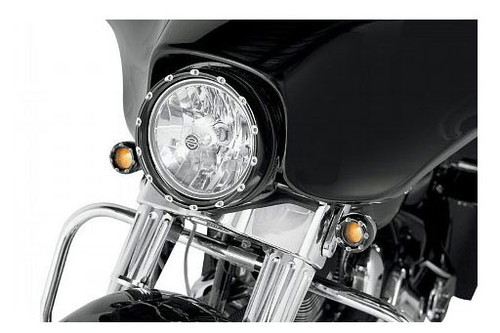 "Arlen Ness Fire Ring L.E.D.  With White L.E.D. Running Lights  for 7"" Factory Headlights - Black Ring"