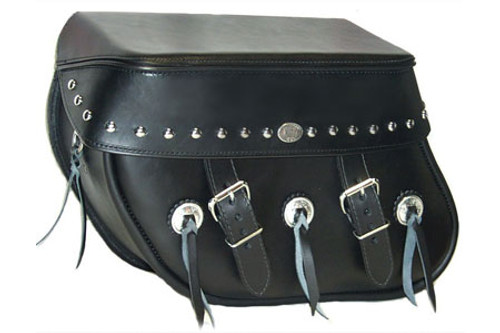 Boss Bags #36 Model Studded on Lid Only w/ Conchos on Bag Body