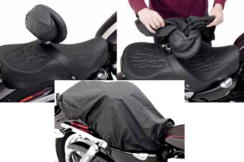 Drag Specialties The Convertible Backrest Assembly With Built-In Seat Rain Cover for DS Seats that Accept EZ Glide II Backrest