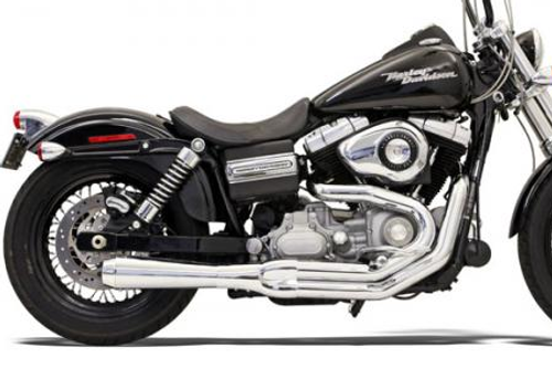 Bassani Road Rage 2-Into-1 System for XL '04-13 Chrome, Short Upswept w/ Heat Shield