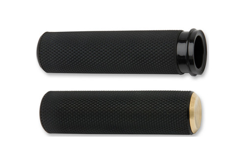Arlen Ness  Black/Brass Knurled Fusion Grips  for Cable Style Throttle for '84-Up Models (except '08-Up FLHT,FLHR,FLHX & H-D Trikes)