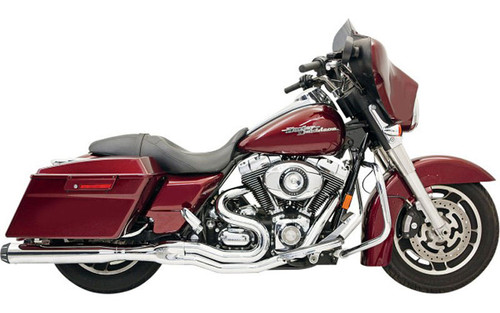 Bassani Road Rage II  2-Into-1 B1 POWER SYSTEM for '95-16 FL Models -Chrome w/ Black Billet End Caps