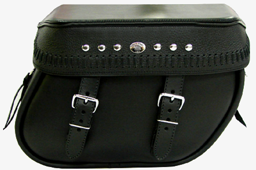 Boss Bags Close Fitting#40 Model  Italian Style w/ a Braided Lid Valence for '14 Indian Models