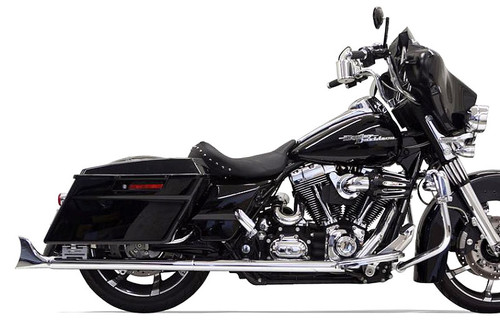 Bassani 2 1/4 inch Fishtail Slip-On Mufflers for '95-16 Harley Davidson Touring Models - 33 inch Mufflers w/ No Baffles
