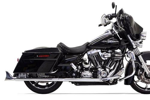 Bassani 2 1/4 inch Fishtail Slip-On Mufflers for '95-16 Harley Davidson Touring Models - 33 inch Mufflers w/ No Baffles