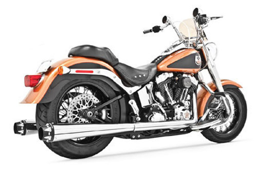 Freedom Performance American Outlaw Dual System for '07-17 Softail - Chrome w/ Black Tip
