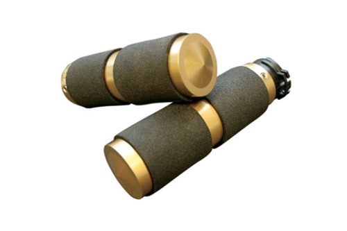 Accutronix  Custom Grips for '84-Up Models (except '08-13 FLHT,FLHR,FLHX & H-D Trikes) -Rubber Inlay, Brass