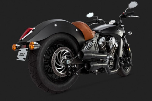 Vance & Hines Hi-Output Grenades 2 into 2 Exhaust for '15-Up Indian Scout Black