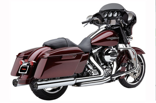 Cobra 4 inch Slip-On Mufflers w/ Racepro Tips for '95-16 Harley-Davidson Touring & Trike Except '15 FLRT -Chrome