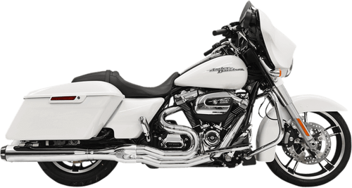 Bassani Road Rage 2-Into-1 System with 4 inch Straight Muffler for Harley Davidson Touring Models '17-Up - Chrome