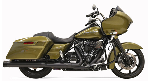 Bassani 4 inch DNT Straight Can Mufflers for Harley Davidson Touring Models '17-Up - Black w/ Black End Cap
