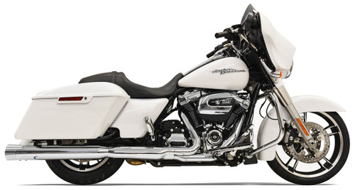 Bassani 4 inch DNT Straight Can Mufflers for Harley Davidson Touring Models '17-Up - Chrome with Chrome End Cap