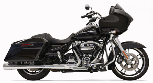 Bassani 4 inch Megaphone Muffler Muffler DNT for Harley Davidson Touring Models '17-Up -Chrome with Chrome End Cap