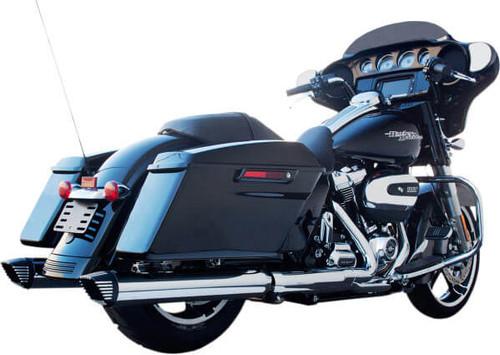 Firebrand 4 inch Baritone Slip-On Mufflers for '17-Up Models - Chrome w/ Black Contrast  End Caps