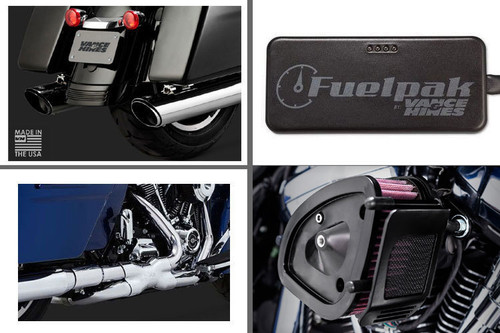 Vance & Hines Complete Stage 1 Power Package for '17-Up Harley Davidson Touring w/ Chrome Twin Slash Slip Ons
