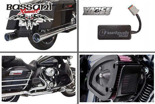 Bassani Complete Stage 1 Power Package with DNT Slip On Mufflers for '17-Up Harley Davidson Touring Models - Chrome w/ Fluted Straight-cut End Cap