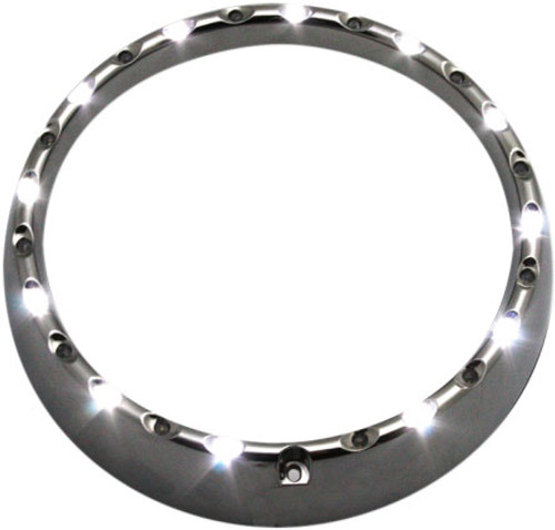 "Custom Dynamics 7"" LED Halo Headlight Trim Ring w/ Built-In Turn Signals for '96-05 FLHT/FLHX  -Chrome"