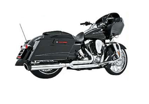 black bike with 2-Into-1 performance exhaust