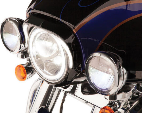Ciro Headlight Bezels for '96-13 FLHT/FLHR/FLHX/FLHCUTG - Gloss Black