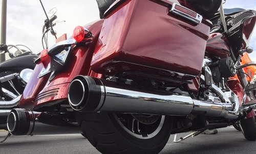 Rinehart Racing  4.5 inch Slip On Mufflers for '17-Up Harley Davidson Touring Models - Chrome with Black End Caps [500-0110]