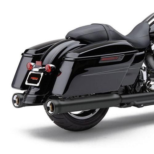 Cobra 4 inch Neighbor Hater Slip On Mufflers for Harley Davidson Touring Models '96-16 - Black
