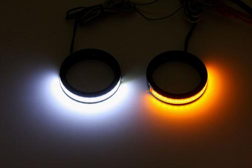 Custom Dynamics Turn Signals w/ Daytime Running Lights -Gloss Black, 56mm