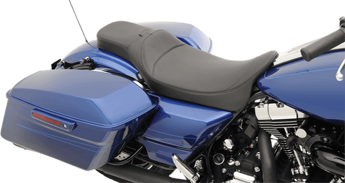 Drag Specialties Seats Extended Reach Predator Seat for Harley Davidson FL Models 2008 -Up, Mild Stitch with Backrest Mount