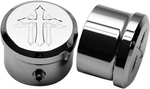 Carl Brouhard Cross Style Front Axle Covers for '08 & Up FL/FXD/FXDWG Models and '07 & Up Softails (Except FXSTD FXCW/C, & Springers) -Chrome
