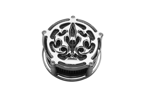 Precision Billet Air Cleaner for Harley Davidson, 4 Hole (Non-TBW) -Ace's Wild Edition -Chrome