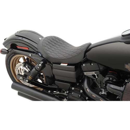Drag Specialties Low Solo Seat for Harley Davidson Dyna Models '06-17 - Diamond Stitch