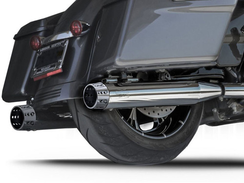 RCX 4 inch Slip On Mufflers for Harley Davidson Touring Models '17-Up - Chrome (Select Tip Style)