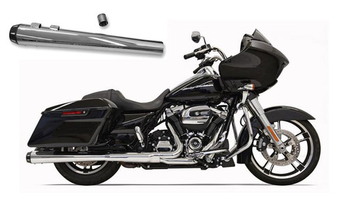 Bassani Crossover Eliminator with 4 inch Tapered Megaphone DNT Slip On Muffler for Harley Davidson Touring Models '17-Up - Chrome w/ Black Tip