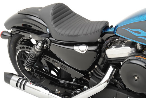 Drag Specialties Cafe Style Solo Seat for Harley Davidson Sportster Models '10-Up - Classic Stitch