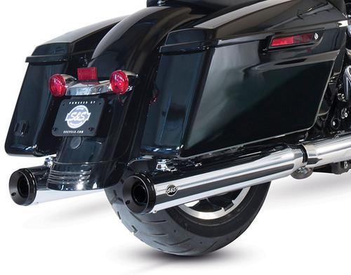 S&S Grand National 4 inch Slip On Mufflers for Harley Davidson Touring Models '17-Up - Chrome