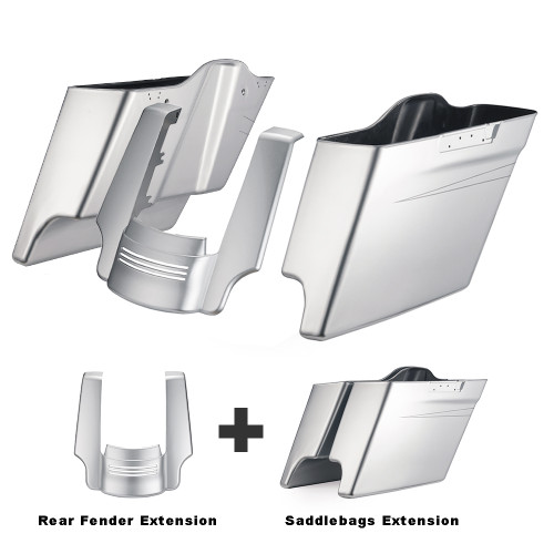 Color Matched 4.5 inch Stretched Extended Saddlebags and Painted Parts for Harley Davidson Touring '14-20 (Click for Options)