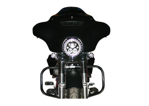 Custom Dynamics 7 inch Halo Headlight Trim Ring with Built In Turn Signals for Harley Davidson Touring Models '14-Up - Black