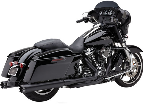 Cobra NH-Series 4 inch Slip On Mufflers with Dual Cut Tips for Harley Davidson Touring Models 17-Up - Black