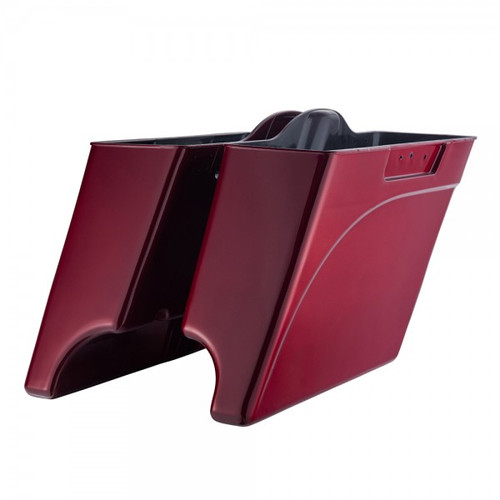 """4/"""" 2-into-1 Extended Stretched Saddlebags w// Lids fit for Harley Davidson 93-13"""