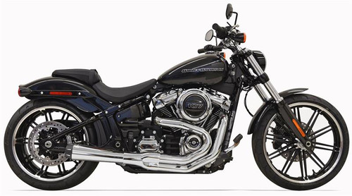 Bassani Road Rage III 2-into-1 with Megaphone Muffler for Harley-Davidson Softail Fatboy, Breakout, FXDR Models '18-Up - Chrome