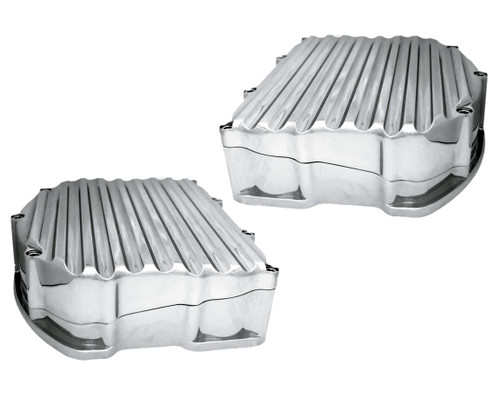 Covington Customs Panhead Style Valve Covers for Harley Davidson Twin Cam Models '99-17 - Chrome Finned