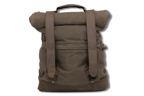 Burly Brand Waxed Cotton Backpack - Dark Oak
