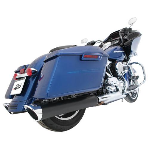 TAB Performance 4 inch BAM Sticks Tip Compatible Slip On Mufflers for Harley Davidson Touring Models '17-Up - Black