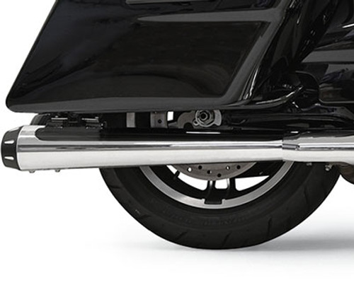 Bassani 4 inch Megaphone Slip On Mufflers for Harley Davidson FL Models '17-Up - Chrome with Black End Cap