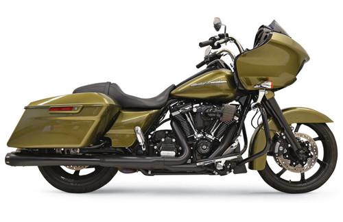 Bassani 4 inch Megaphone Slip On Mufflers for Harley Davidson FL Models '17-Up - Black with Black End Cap