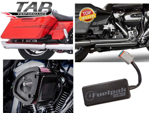 TAB Performance Complete Stage 1 Power Package for Harley Davidson Touring Models '17-Up - Chrome (Tip Compatible)