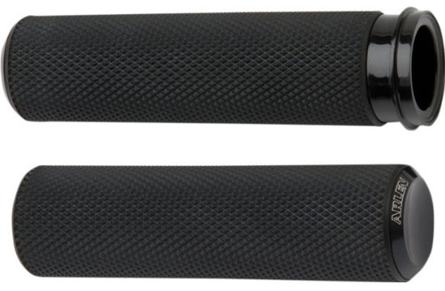 Arlen Ness Fusion Grips for '08-Up Harley Davidson Touring, '16-Up Softail (Click for Fitment) Knurled Black Anodized